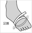 それと足囲、親指の付け根のちょっと出っ張った骨から小指の付け根の辺りを、一周囲んだ長さ測ってください。